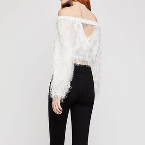 BCBGeneration Off The Shoulder Fringe Crop Top